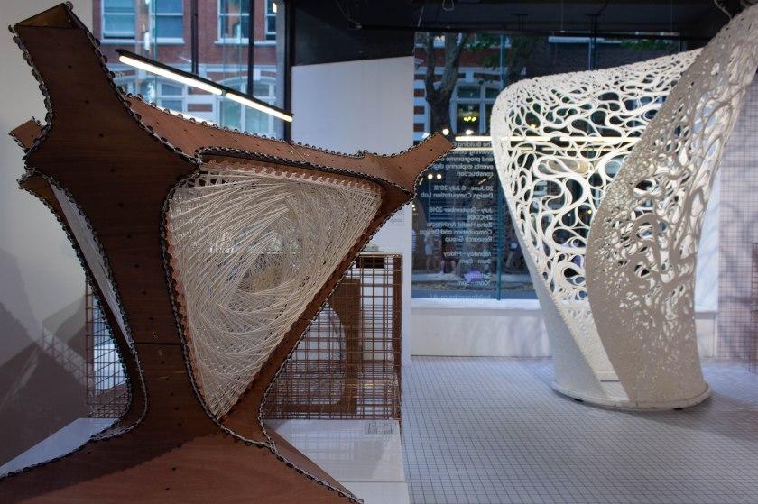 07_Bent wood and robotiacally woven fibre prototype and Thallus_Digital Turn_The Building Centre_-¬Chris Jackson.jpg